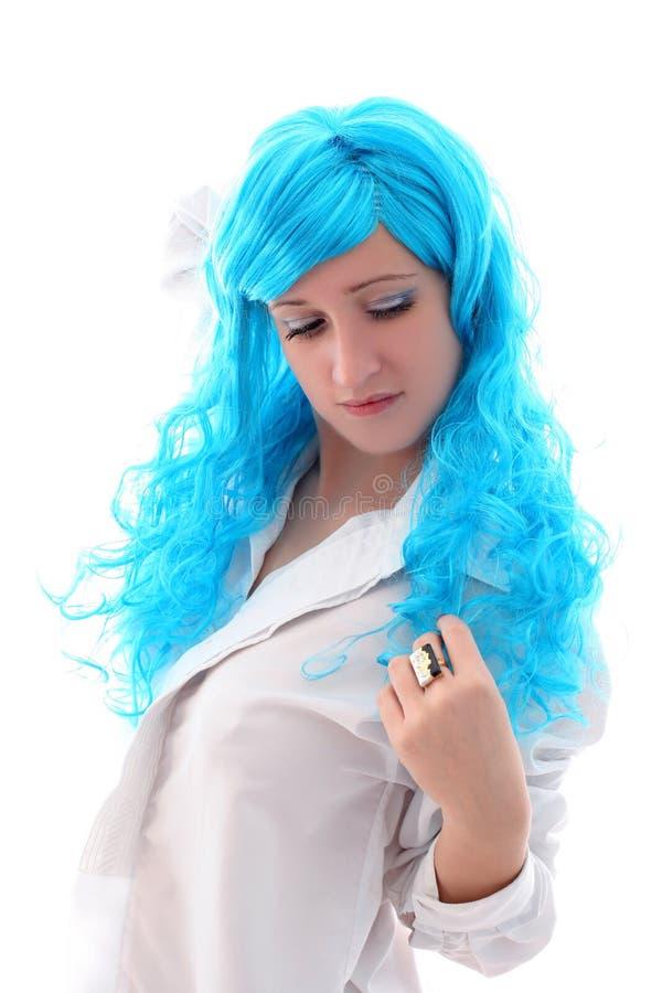 Download Blue hairs girl stock image. Image of fashion, blue, freshness - 12019845