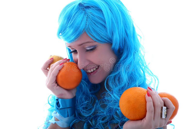 Blue hairs girl with oranges