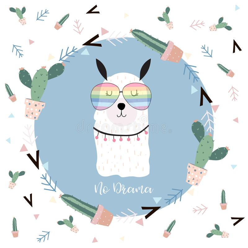 Blue hand drawn cute card with llama,glasses,cactus in summer.No drama. On blue background stock illustration
