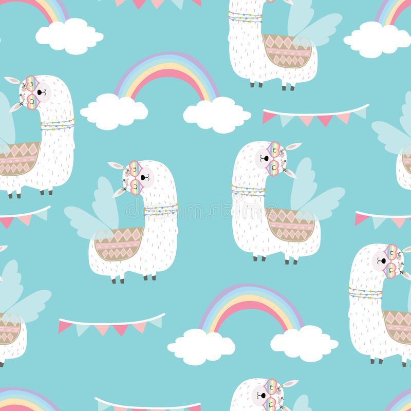 Blue hand drawn cute seamless pattern with llama,wing, heart glasses,rainbow,flag in summer vector illustration