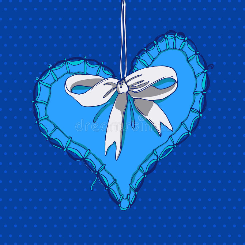 Blue hand drawn heart with white bow. Valentines card illustration. Love symbol colored sketch vector illustration