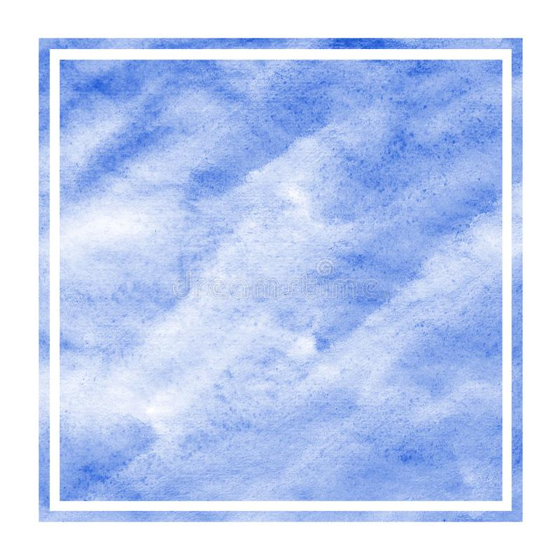 Blue hand drawn watercolor rectangular frame background texture with stains. Modern design element royalty free stock photos