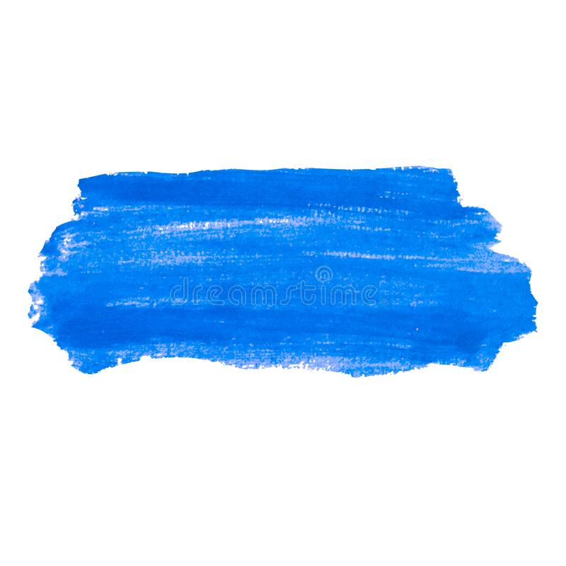 Blue hand painted, watercolor stripes isolated on white background. Fluid ink, acrylic dry brush strokes, stains vector illustration