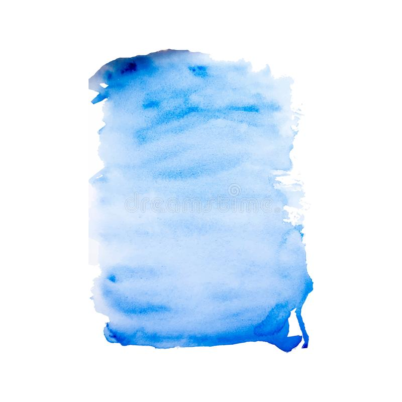 Blue hand painted watercolor texture on the white background, vector ink vector illustration