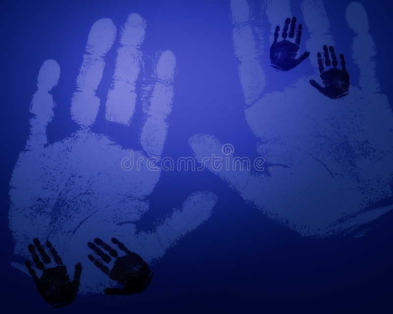 Blue hand prints stock illustration