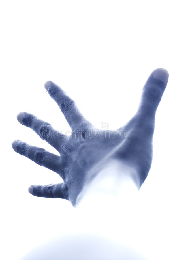Blue hand pushing the sky royalty free stock images