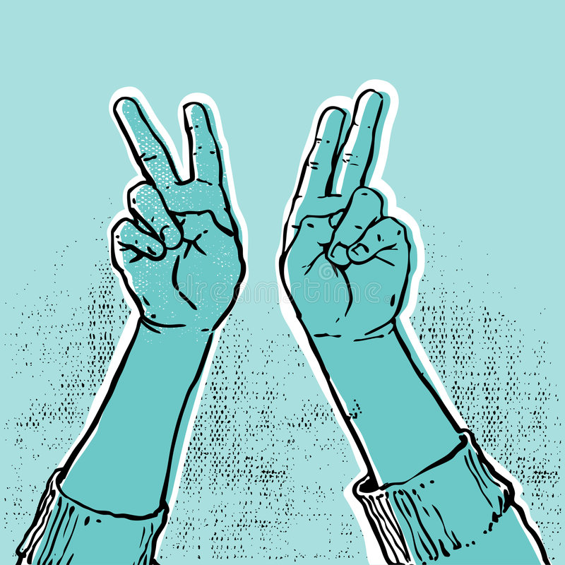 Blue hand- victory royalty free illustration