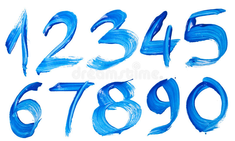 Blue hand-written number. Isolated over white background vector illustration