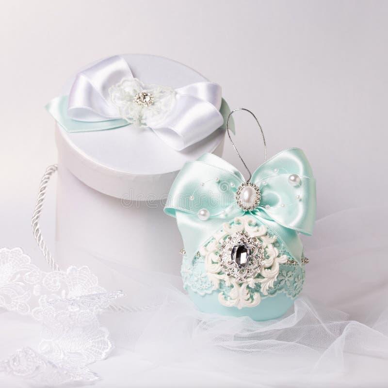 Blue handmade christmas ball with box stock photo