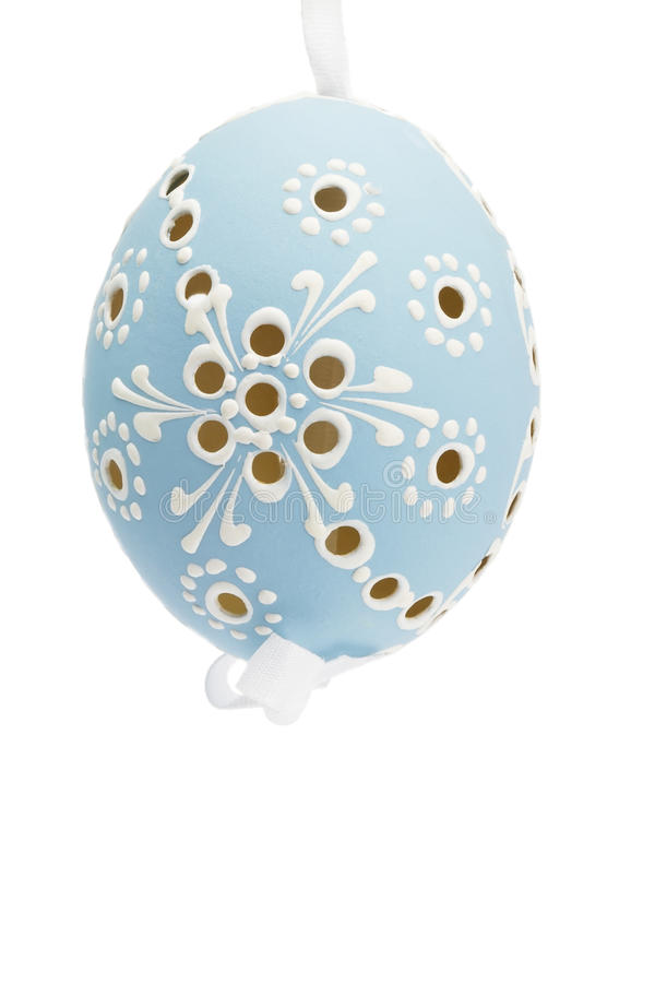 Blue Hanging Hand Painted Easter Egg Stock Image