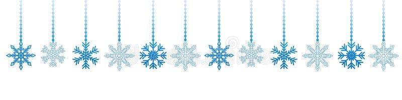 Blue hanging snowflake christmas decoration on white background vector illustration