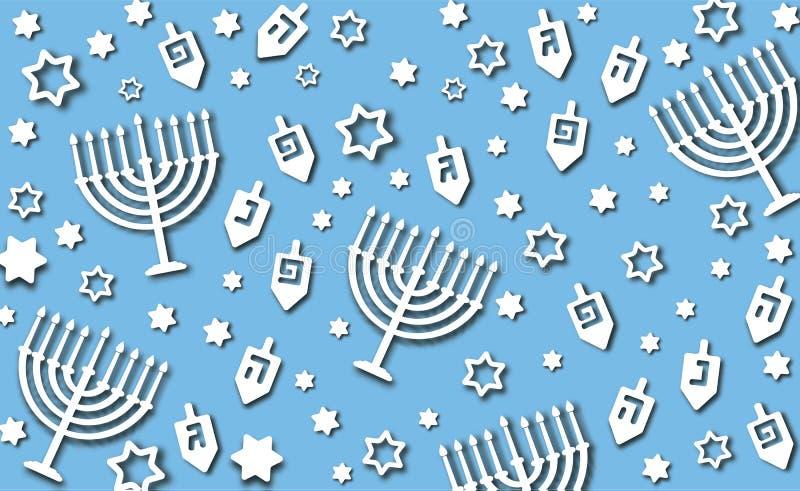 Blue Hanukkah background. Hanukkah blue background with holiday candles, dreidels, Hebrew letters and David stars. Modern paper cut design for Jewish Festival of royalty free illustration