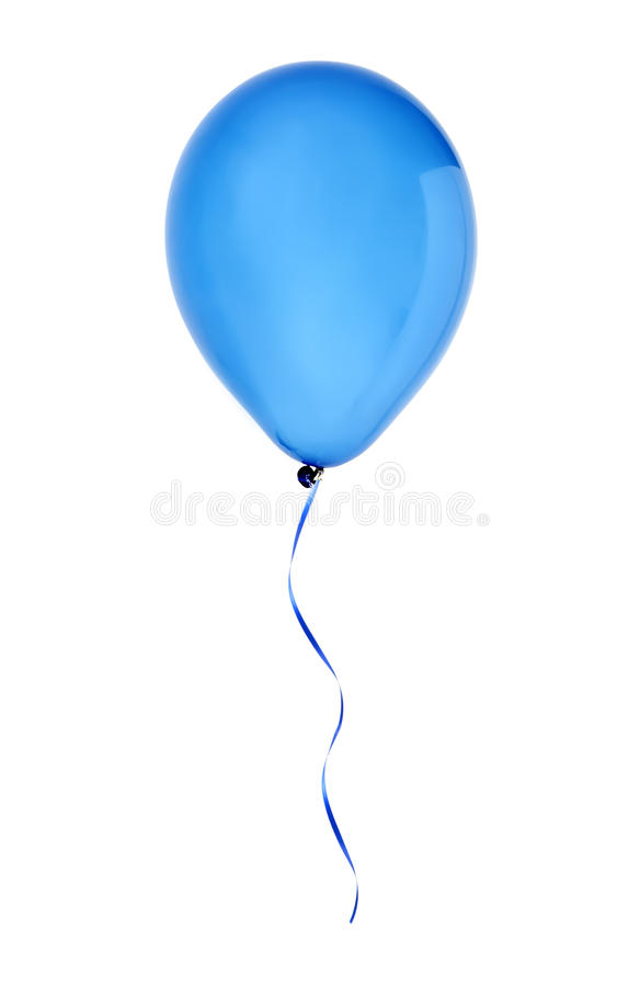 Blue happy air flying balloon isolated on white royalty free stock photography