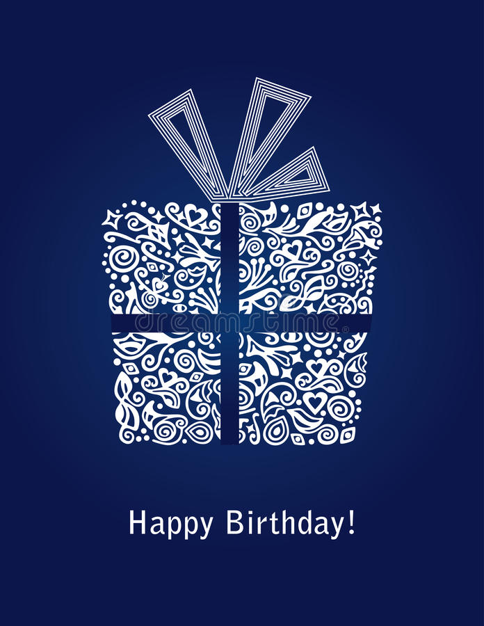 Blue Happy Birthday card with detailed white gift box ornament stock illustration