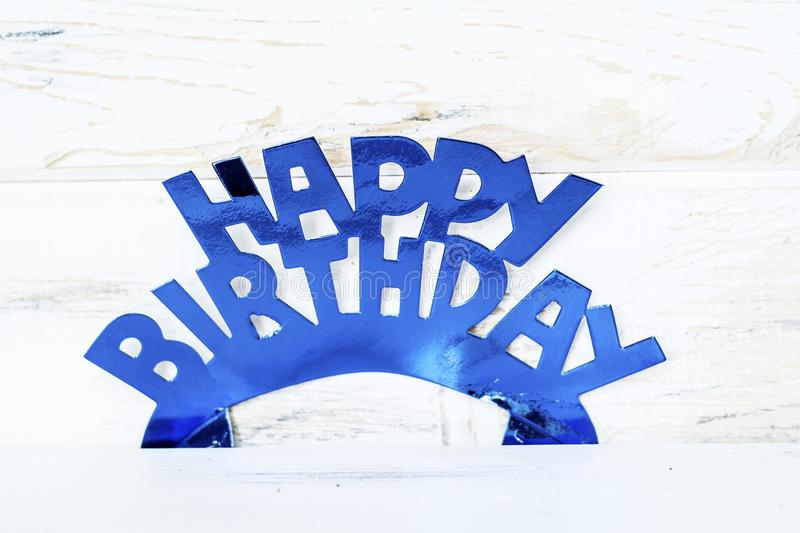 Blue Happy Birthday Text royalty free stock images