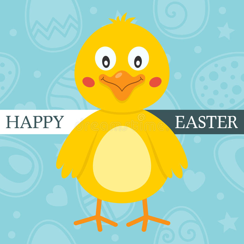 Download Blue Happy Easter Card With Cute Chick Stock Vector - Illustration of march, character: 39291692