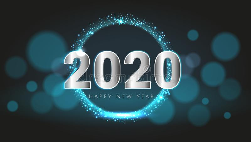 Blue 2020 Happy New Year card with premium bokeh magic texture design background. Festive rich premium luxury design for holiday stock illustration