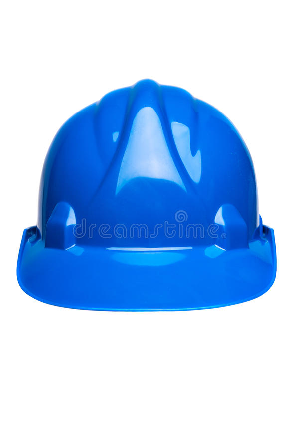 Blue hard hat isolated on white stock photography