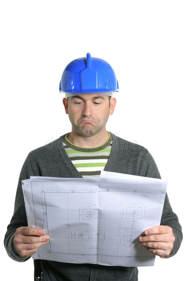 Blue hardhat foreman portrait in white royalty free stock photos