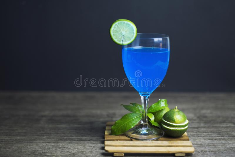 Blue Hawaii Lemon ready to drink, Close-up, Copy-space royalty free stock images