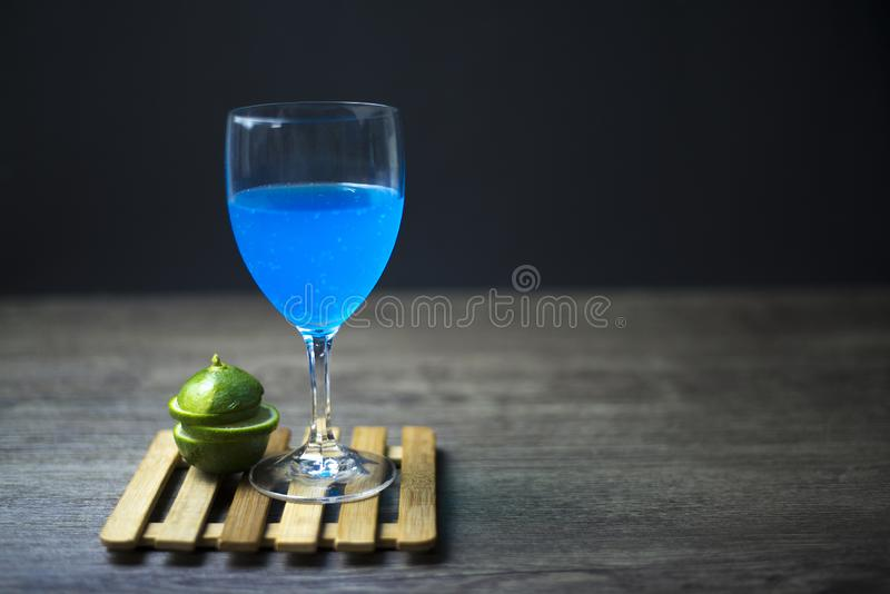 Blue Hawaii Lemon ready to drink, Close-up, Copy-space royalty free stock image
