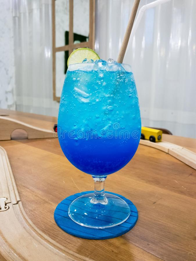 Blue Hawaii Soda in glass cup, Mocktail. No alcohol stock image