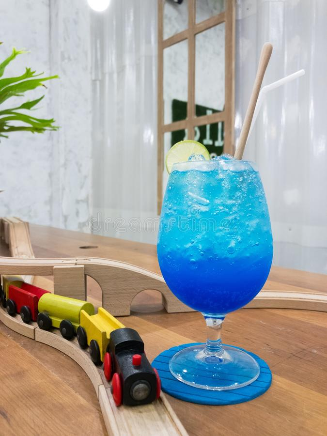 Blue Hawaii Soda in glass cup, Mocktail. No alcohol royalty free stock photos