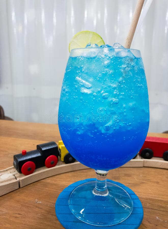 Blue Hawaii Soda in glass cup, Mocktail. No alcohol royalty free stock photo