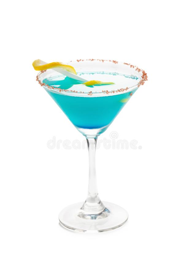 Blue Hawaiian Cocktail in a martini glasses, isolated on white b stock photo