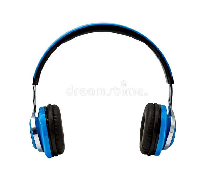 Blue headphone isolated on white background with clipping path royalty free stock image