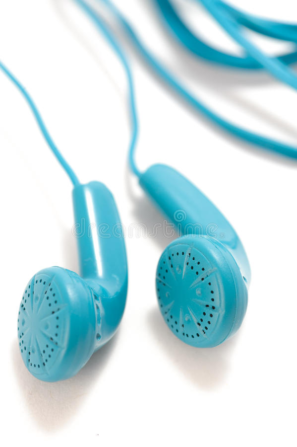 Blue headphones. Isolated on a white background royalty free stock photos