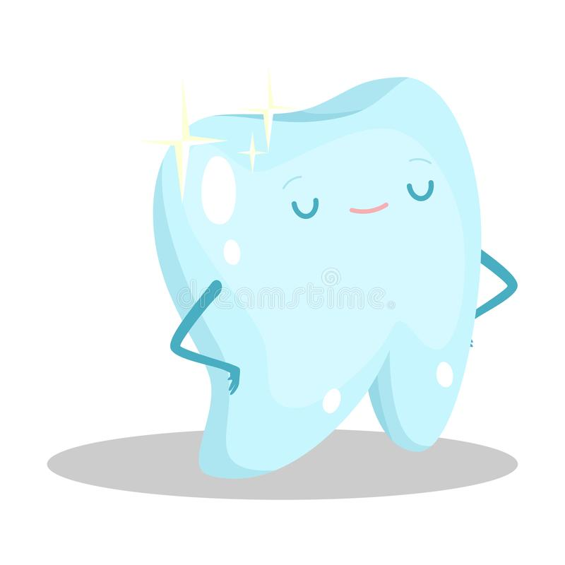 Blue healthy clean tooth standing feeling happy vector illustration stock images