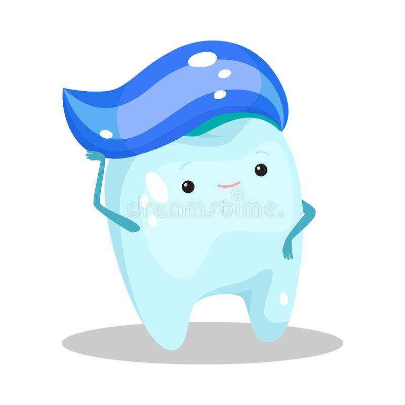 Blue healthy tooth standing with toothpaste on head vector illustration royalty free stock photo