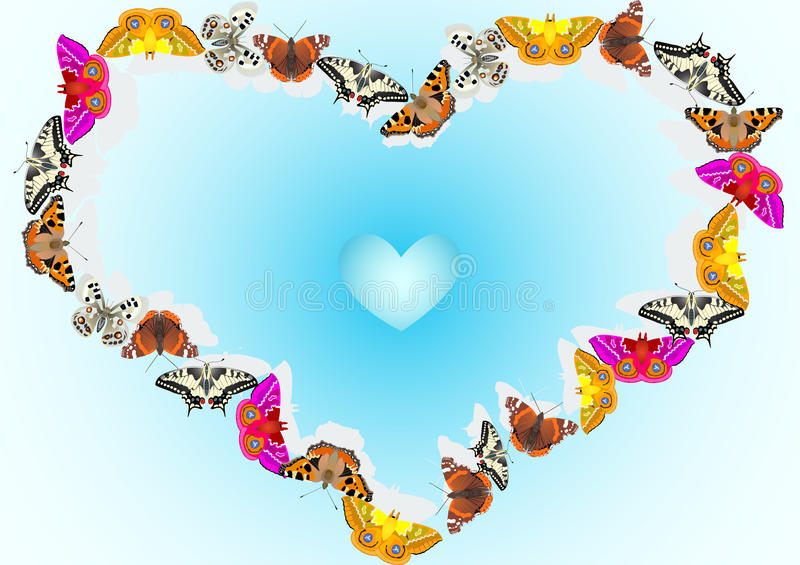 Blue Heart Background Of Butterflies Royalty Free Stock Photography