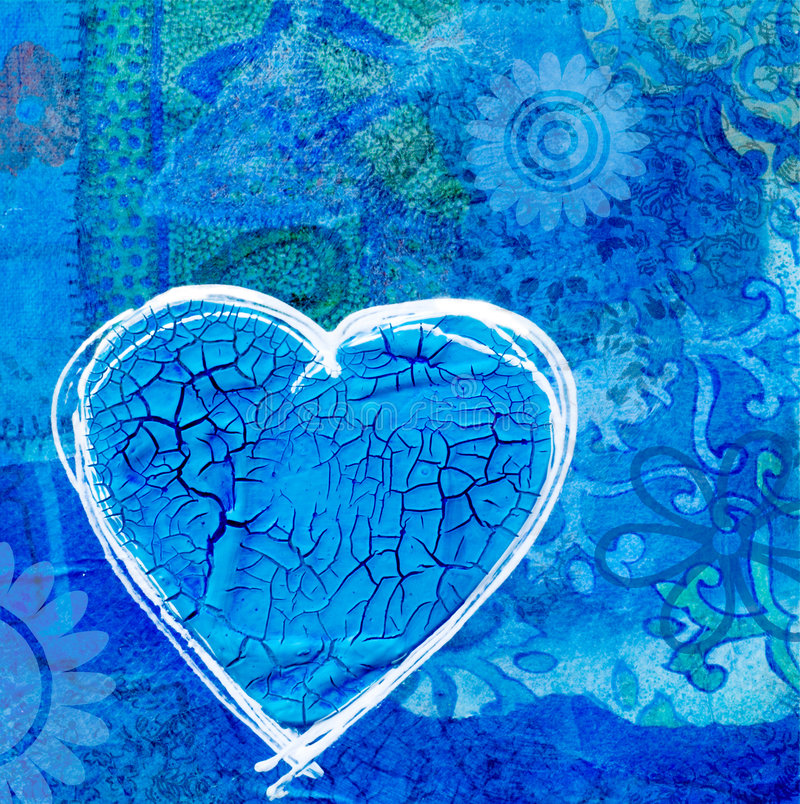 Blue heart on collage background stock illustration