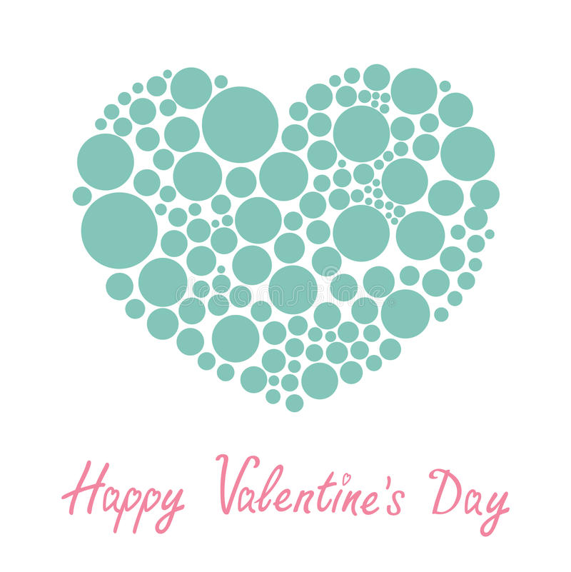 Blue heart made from many round dots Love card Flat design Happy Valentines day vector illustration