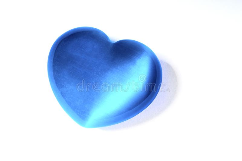 Blue Heart Object. A blue heart object over a white background stock photo
