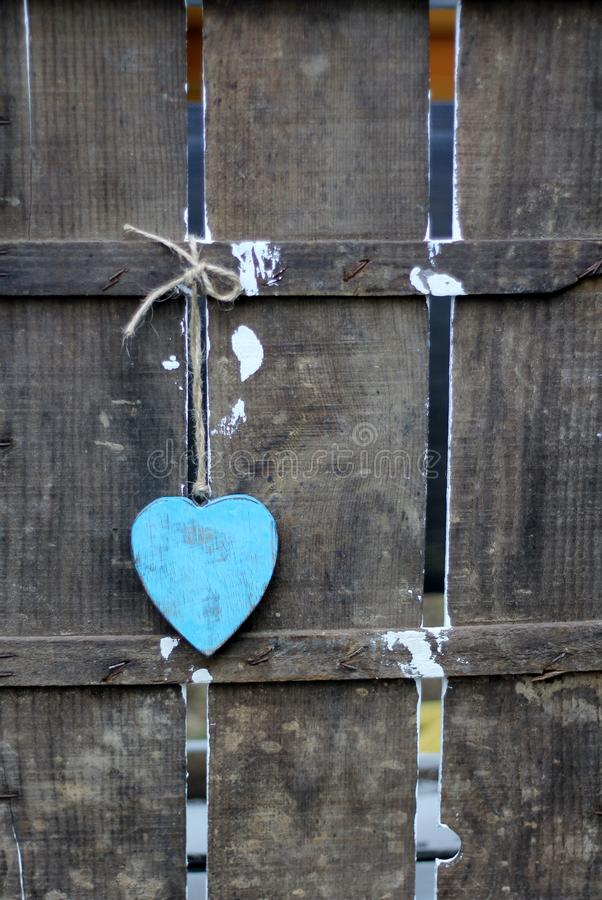Download Blue Heart On Old Wooden Fence Stock Image - Image: 83709259