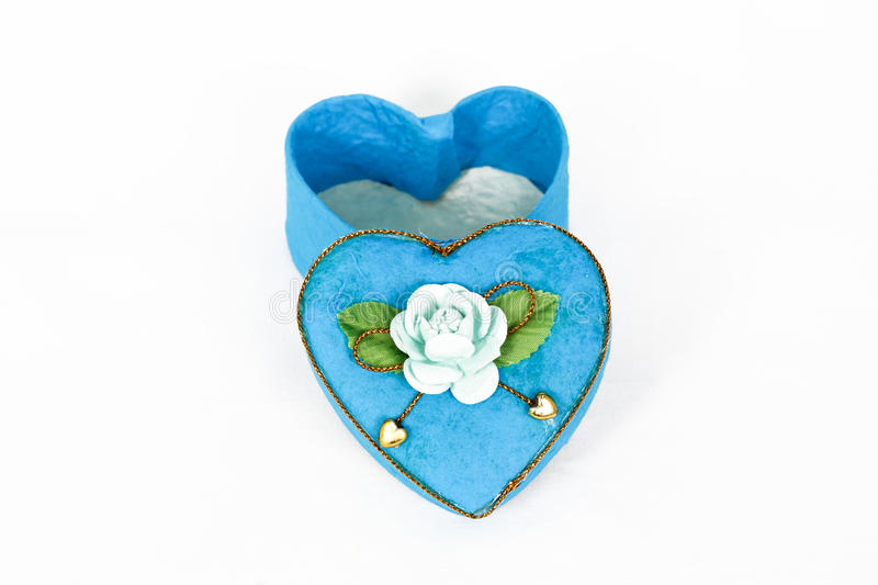 Blue Heart-shaped box in heart shape. On white background stock image