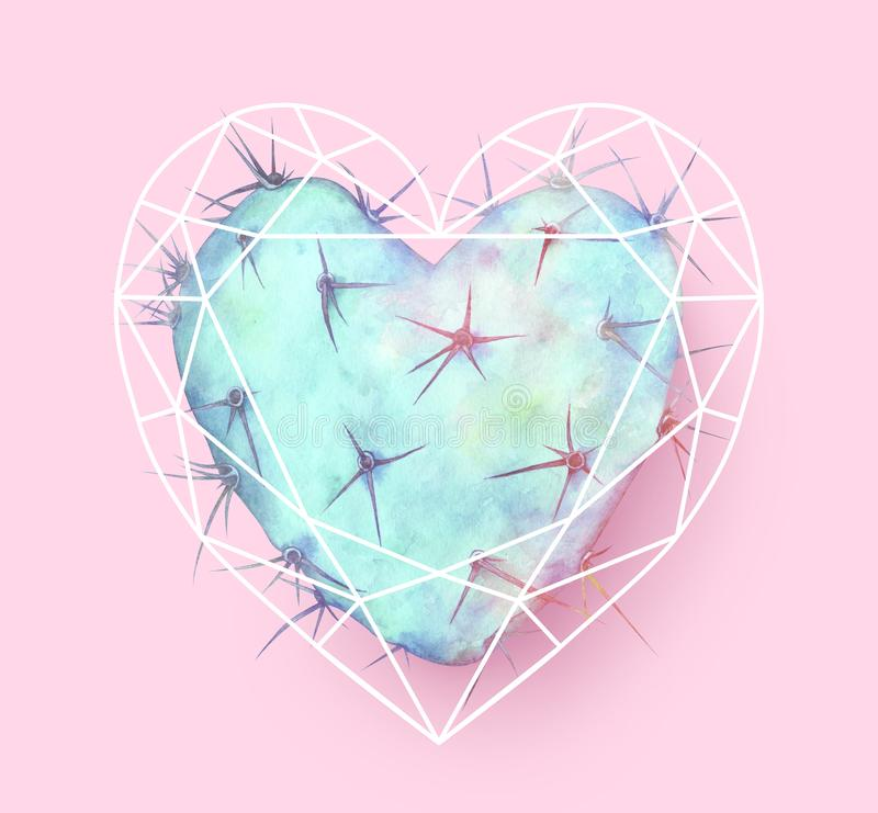 Blue heart shaped cactus in polygonal heart. Watercolor illustration. Blue heart shaped cactus in polygonal heart. Watercolor hand drawn illustration stock photo
