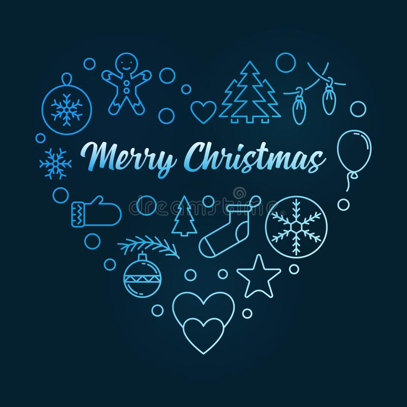 Blue heart of xmas outline icons. Vector Christmas illustration vector illustration