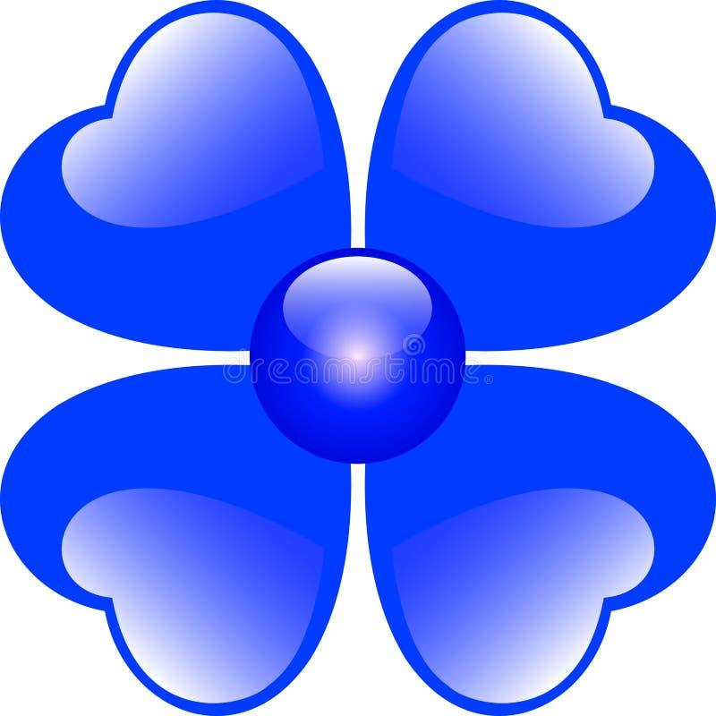 Blue Hearts Flower. Isolated over white stock illustration