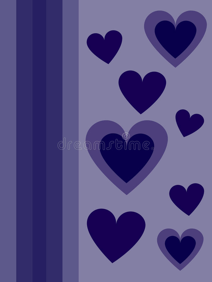 Blue hearts for Valentines day. Free postcard royalty free illustration
