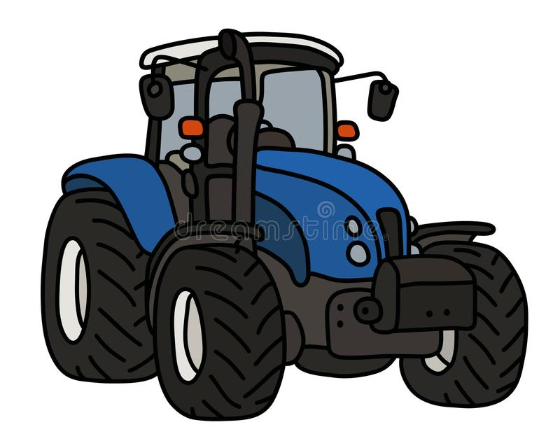 The blue heavy tractor stock illustration