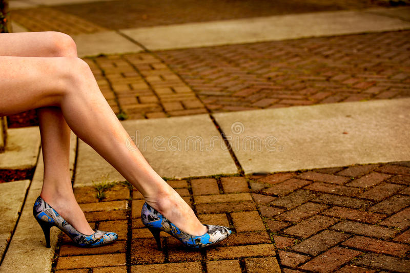 Blue heels royalty free stock photo
