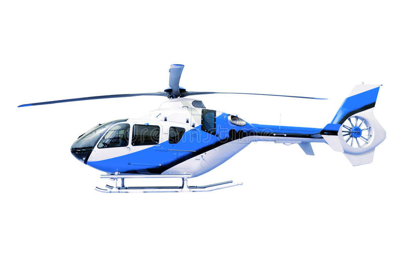 Blue helicopter isolated white royalty free stock image