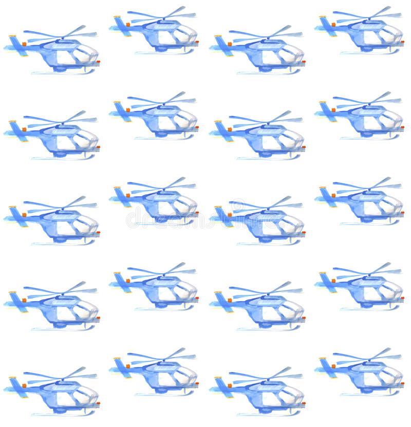 Free Blue Helicopter. Watercolor Seamless Pattern Royalty Free Stock Photography - 50063317