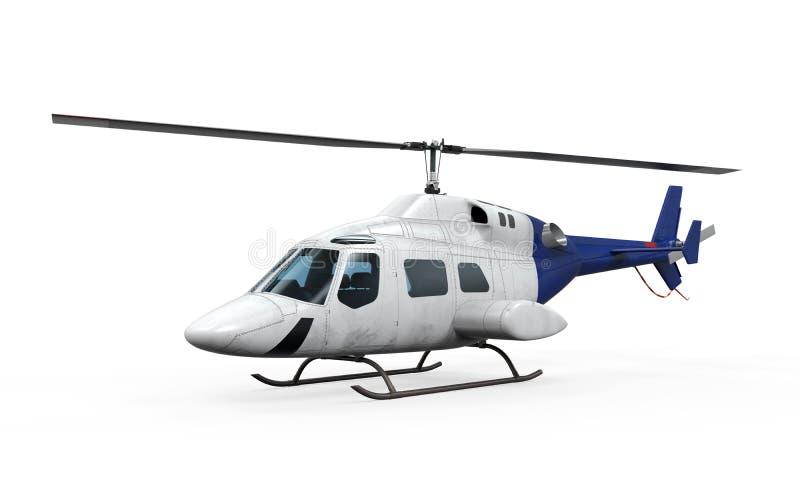 Blue Helicopter. On white background. 3D render vector illustration