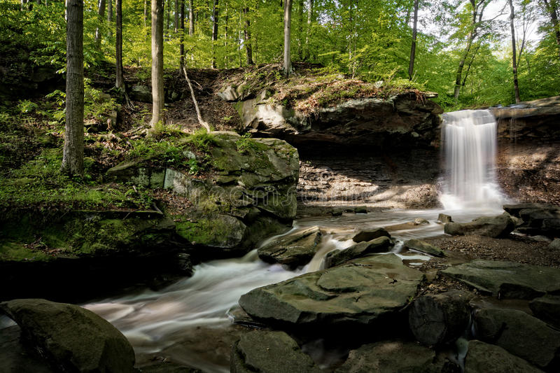 Blue Hen Falls. In Cuyahoga Valley National Park Ohio. A gorgeous fifteen foot waterfall seen here in late spring stock photo
