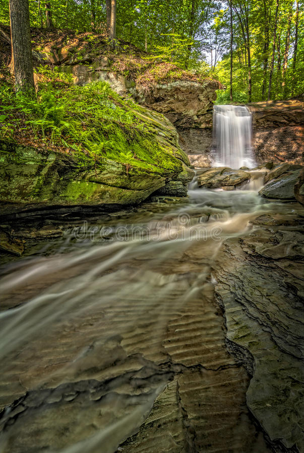Blue Hen Falls. In Cuyahoga Valley National Park Ohio. A gorgeous fifteen foot waterfall seen here in late spring stock images